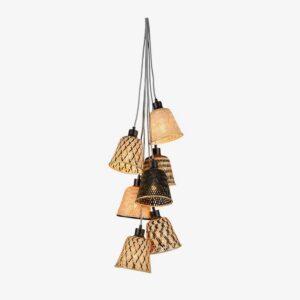 Lámpara colgante Kalimantan 7 natural y negro | Bambú y hierro | Good and Mojo