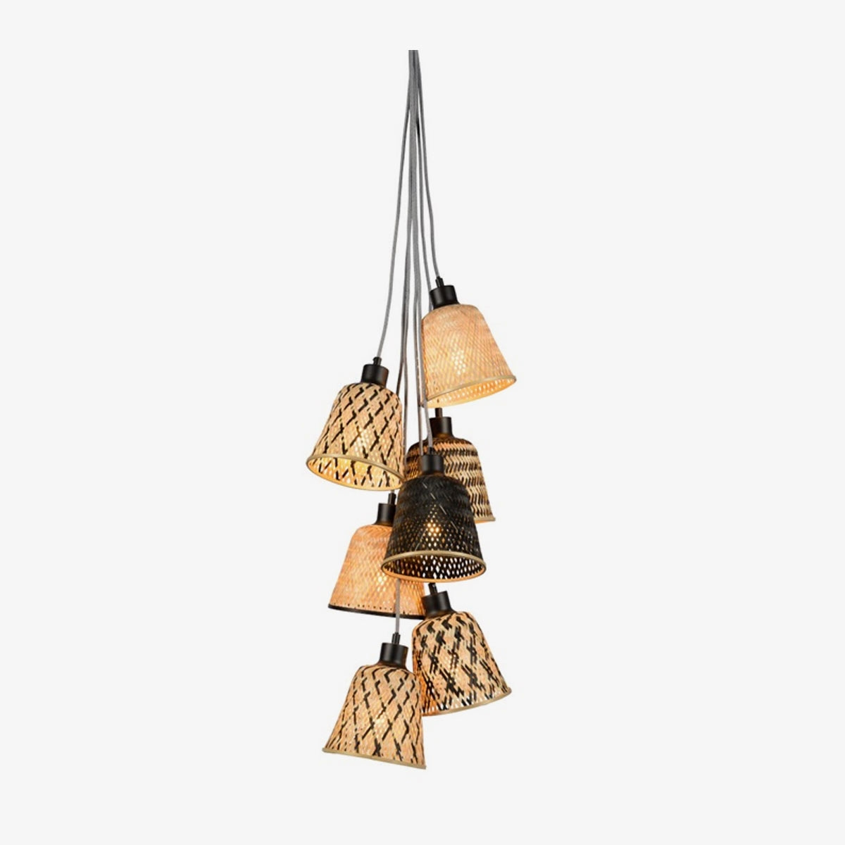 Lámpara colgante Kalimantan 7 natural y negro   Bambú y hierro   Good and Mojo