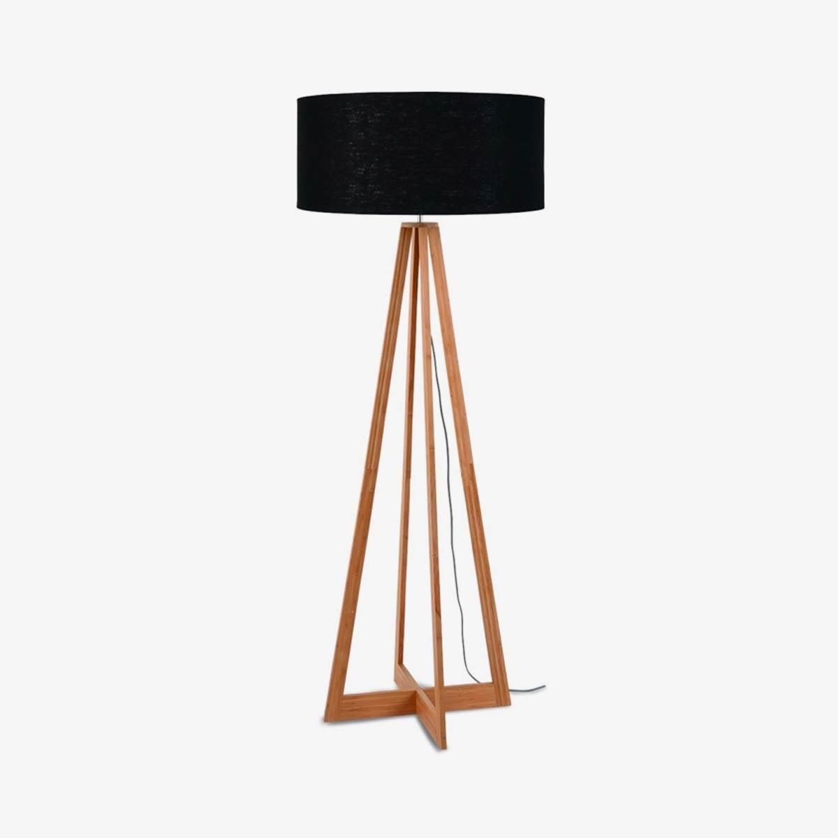Lámpara de pie Everest natural y negro | Bambú y lino | Good and Mojo