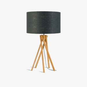 Lámpara de sobremesa Kilimanjaro gris oscuro   bambú y lino   Good and Mojo