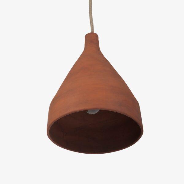Lámpara de barro artesanal con forma de campana