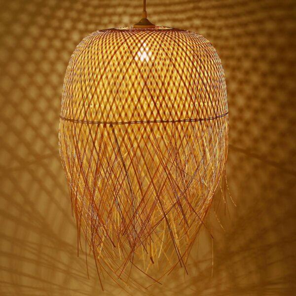 Lampara de bambú colgante de 35 cm diámetro