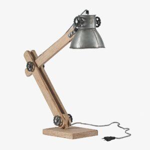 Lámpara de sobremesa con brazo articulado en madera