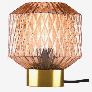 Lámpara de sobremesa metal satinado bronce y pantalla de vidrio ocre