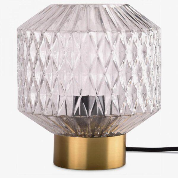Lámpara de sobremesa metal satinado bronce y pantalla de vidrio transparente