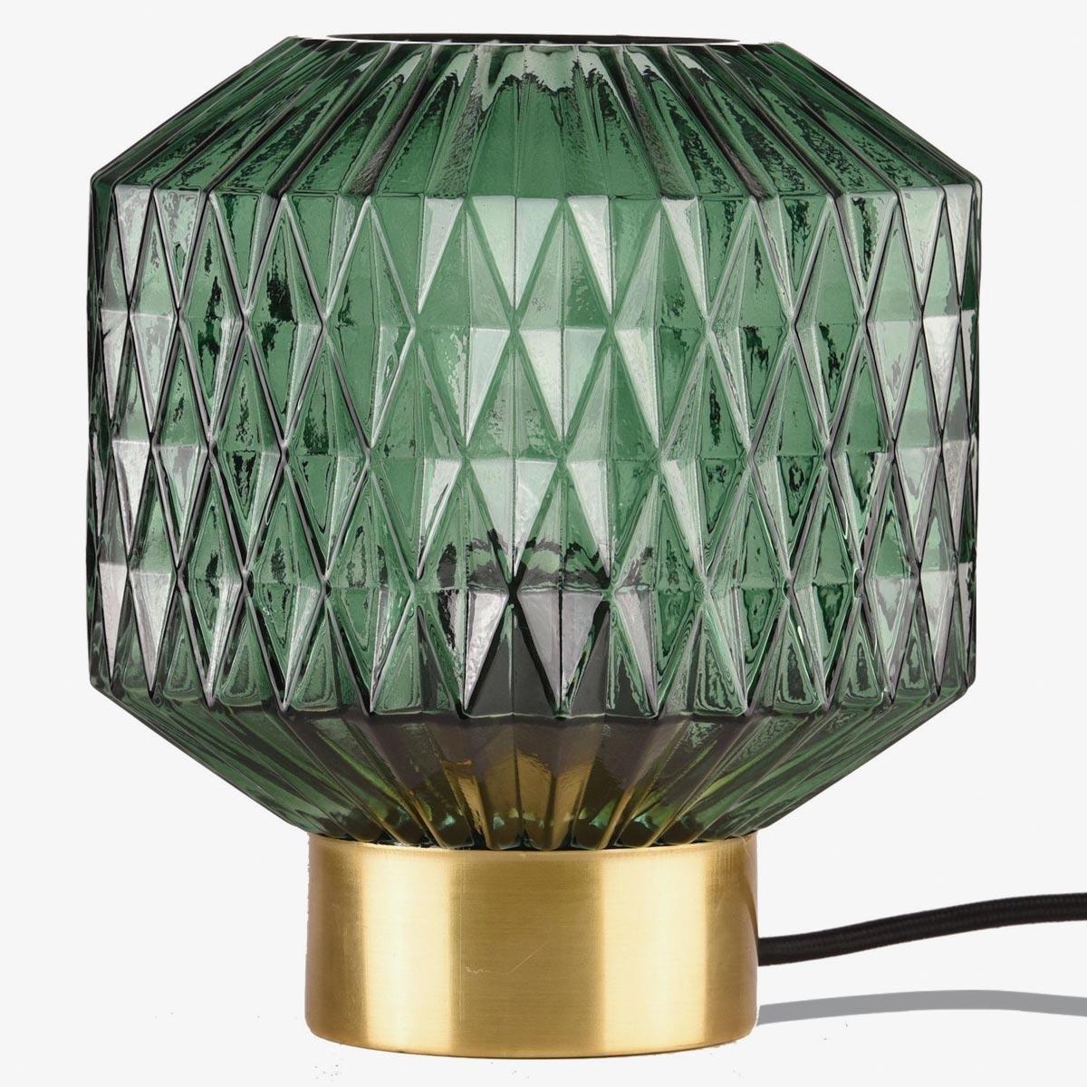 Lámpara de sobremesa metal satinado bronce y pantalla de vidrio verde