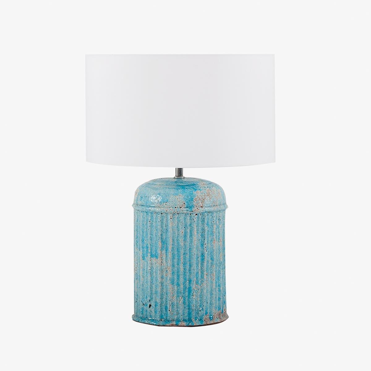 Lámpara de sobremesa redonda rayas en terracota azul