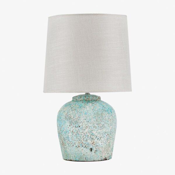Lámpara de sobremesa en terracota azul