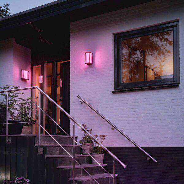 Philips Hue Impress aplique de pared cuadrado exterior negro-2339