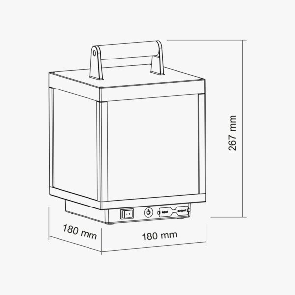 Medidas de la lámpara portatil exterior