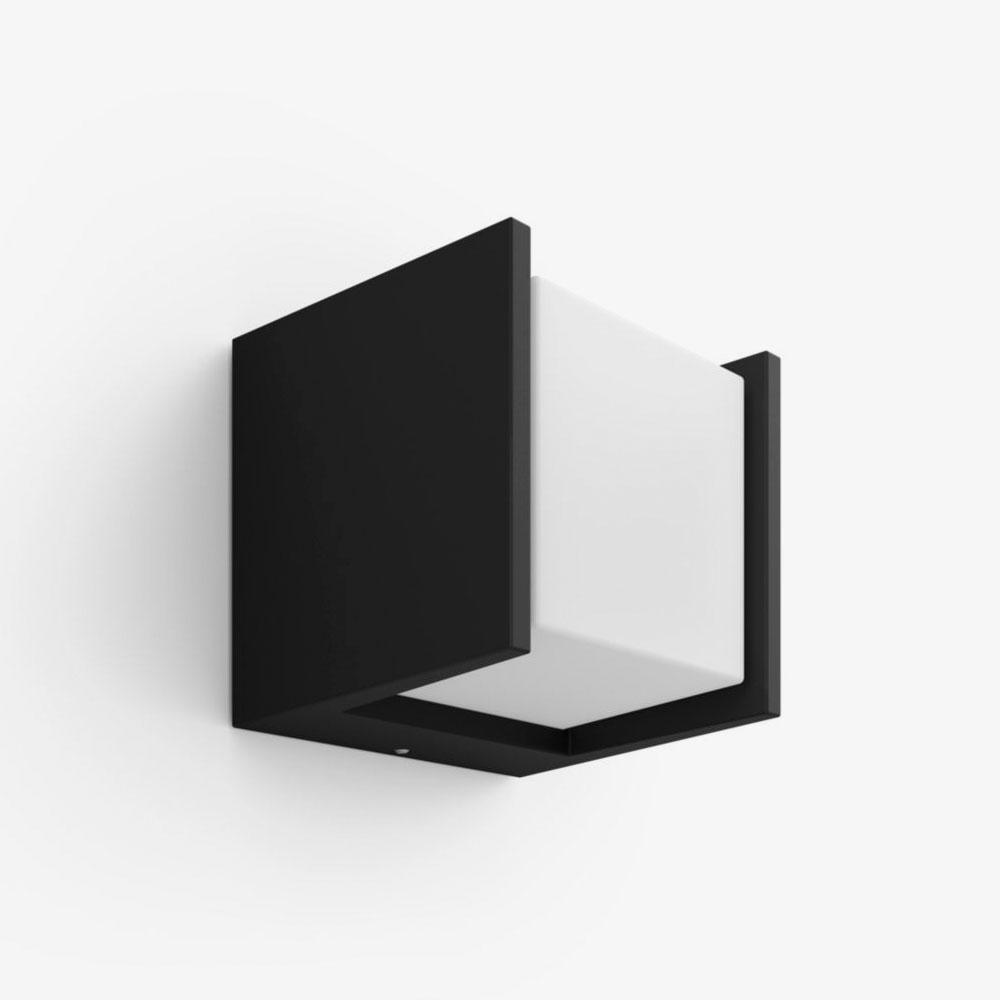 Aplique de pared exterior Fuzo cuadrado negro Philips Hue-1