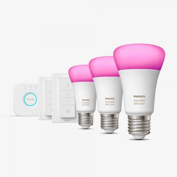 Kit 3 bombillas Bluetooth Philips Hue Led E27 y puente luz blanca y color 1